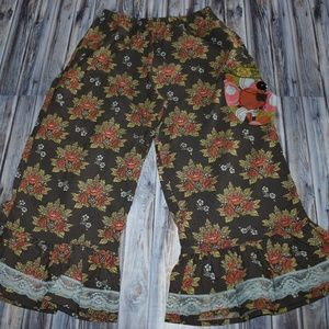 Matilda Jane Floral Pants Ruffle Lace Brown 8
